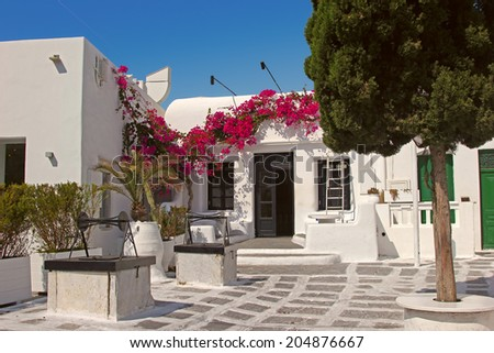 Traditional greek house in Mykonos - stock photo