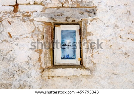 Traditional Greek housing on the island of Corfu near Paleokastritsa. Corfu Island Kerkyra. - stock photo