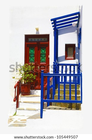 Traditional  greek island house. One of many brightly painted doors and pergolas  in Mykonos town. - stock photo