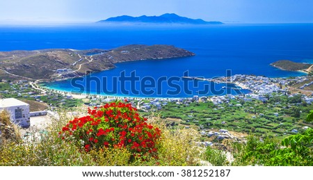 Traditional greek islands - Serifos. top view from monastery. Cyclades - stock photo