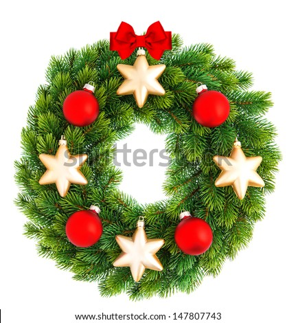 traditional green christmas decoration evergreen wreath decorated with red and golden balls isolated on white background - stock photo
