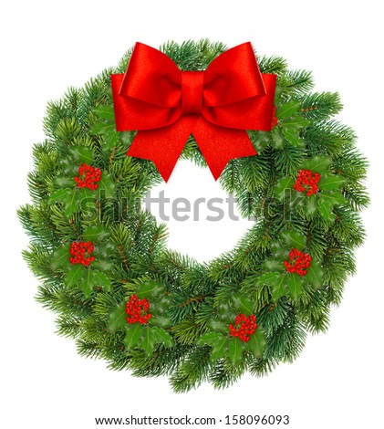 traditional green christmas wreath with holly berry and red ribbon bow isolated on white background. festive decoration - stock photo