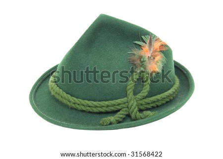 Traditional green felt German alpine hat with rope twists and bright feathers - path included - stock photo