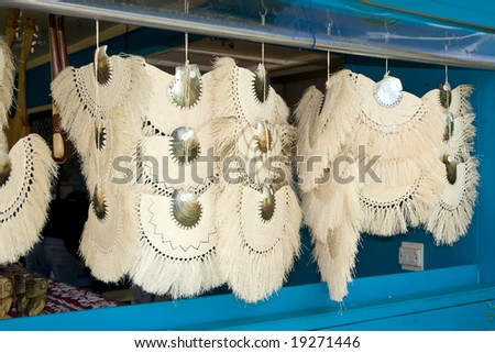Traditional hand crafted Cook Islands shell fans - stock photo