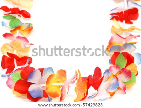 Traditional Hawaiian colorful floral necklace - stock photo