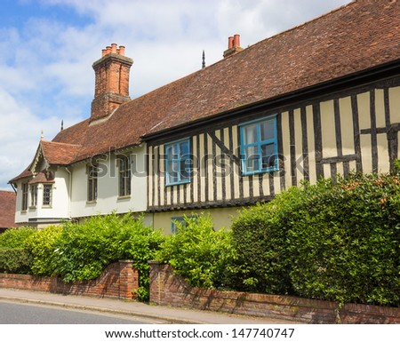 Traditional, historic, timber-framed Tudor house at Halesworth, Suffolk, UK. Copyspace in sky. - stock photo