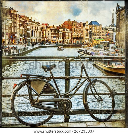traditional Holland- canals and bikes, vintage picture - stock photo