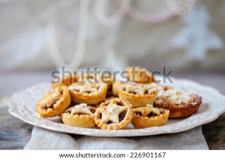 Traditional home made Christmas mince pies - stock photo