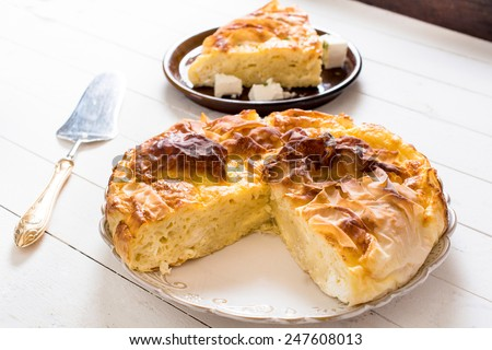 Traditional homemade Serbian cheese pie on the plate,selective focus - stock photo