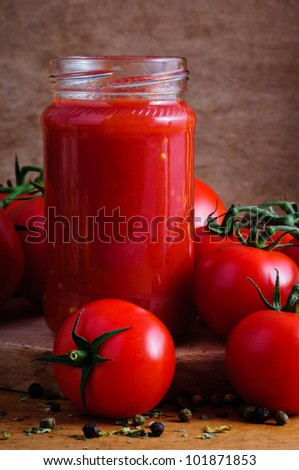 traditional homemade tomato sauce - stock photo
