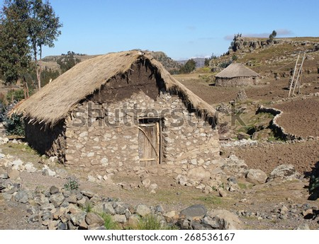Traditional homes in the upland of Amhara, Ethiopia, Africa - stock photo