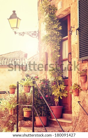Traditional house in Valldemosa village in Mallorca, Spain - stock photo