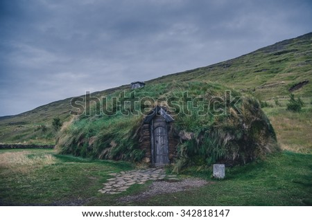 traditional house to live in in Iceland - stock photo