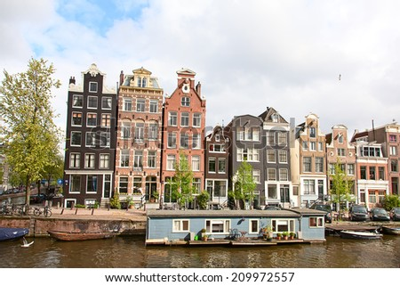 Traditional houses of the Amsterdam, Netherlands - stock photo