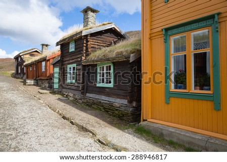 Traditional houses of the copper mines town of Roros, Norway. Roros town is declared a UNESCO World Heritage site. - stock photo