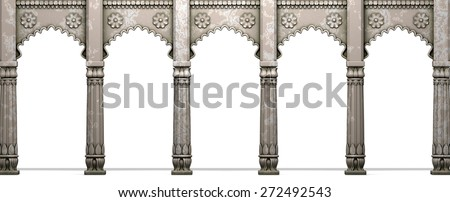 Traditional Indian Column Arc Gallery Isolated On White - stock photo