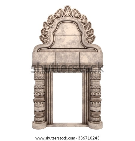 Traditional Indian Column Arc Isolated on White. 3d rendering. - stock photo