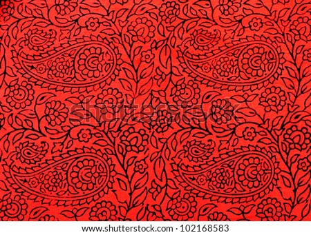 Traditional Indian hand-printed cotton fabric with floral design - stock photo