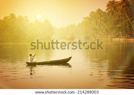 Traditional Indian house boat .Kerala, instagram filter effect - stock photo