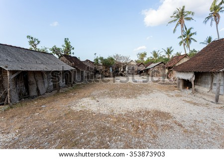 traditional indonesian poor house - shack on beach, Nusa Penida Island, Toyapakeh. Bali. - stock photo
