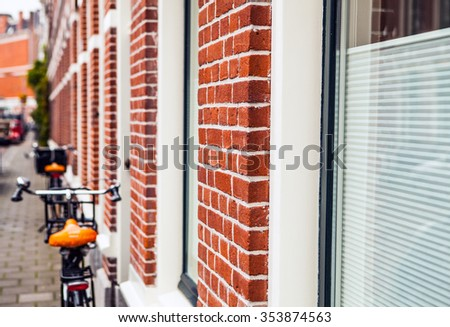Traditional inhabited house. Haarlem - Holland. - stock photo