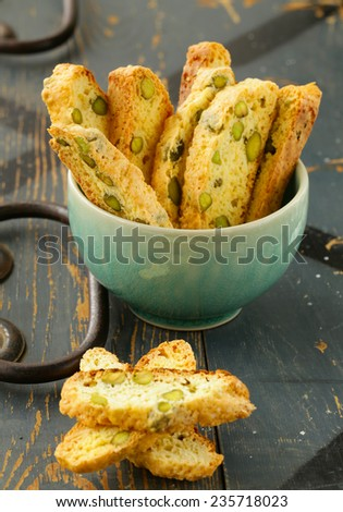 traditional Italian biscotti cookies on a wooden table - stock photo