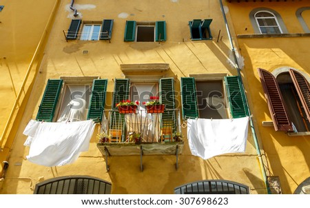 Traditional Italian facade of the old house on the hill of Boboli in Florence. - stock photo