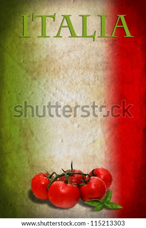 Traditional Italian flag with tomatoes and basil - stock photo