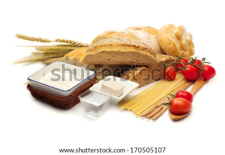 traditional italian food over white background - stock photo