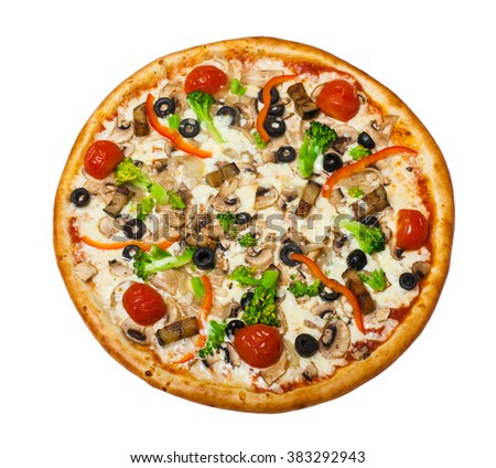 traditional Italian food: Vegetarian pizza with mushroom isolated on white background - stock photo