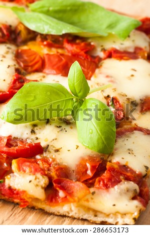Traditional Italian Pizza Margherita served in a restaurant in Capri, Italy - stock photo