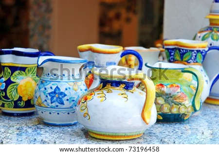 Traditional italian pots - stock photo