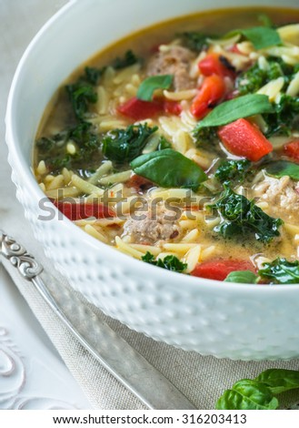 Traditional Italian soup with spicy meatballs chicken broth and orzo - stock photo