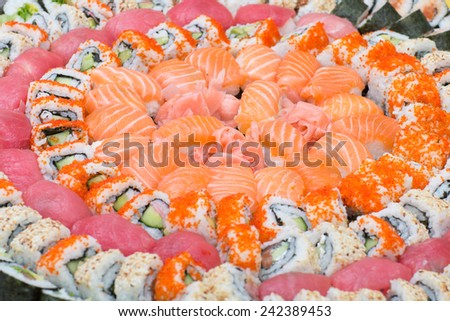 traditional Japanese cuisine, set with various choice of sushi - stock photo
