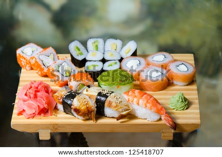 traditional japanese food roll - stock photo