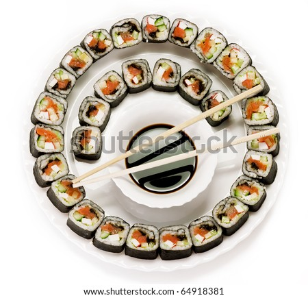 Traditional Japanese food. Sushi on a plate. isolated on  white - stock photo