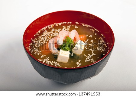 traditional Japanese miso soup with prawns - stock photo