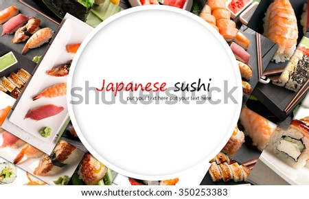 Traditional japanese sushi with fish and rice (collage) - stock photo