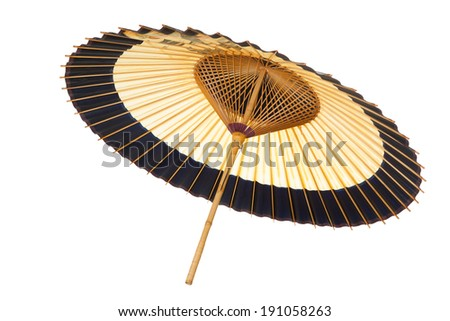 Traditional Japanese umbrella made of bamboo and paper. - stock photo