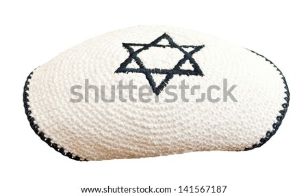 Traditional jewish headwear with embroidered star of David  - stock photo
