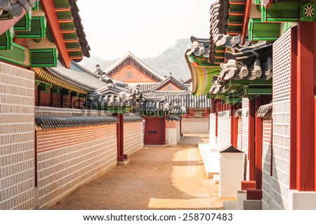 Traditional Korean architecture at Gyeongbokgung Palace in Seoul, South Korea. - stock photo