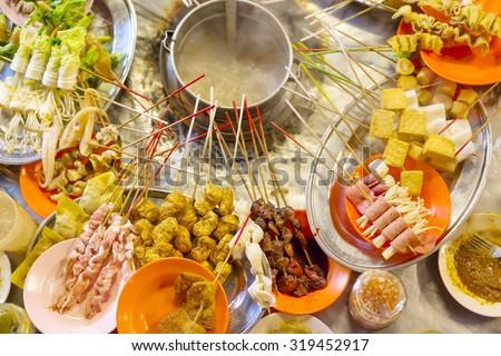 Traditional lok-lok street food from Asia - stock photo