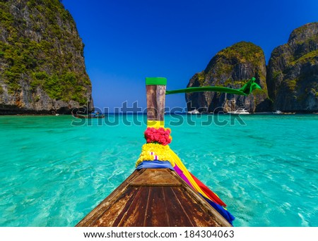 Traditional longtail boat in Maya bay on Koh Phi Phi Leh Island, Krabi, Southern of Thailand - stock photo