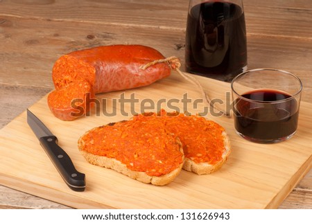 Traditional Majorcan spread served with slices of fresh bread - stock photo