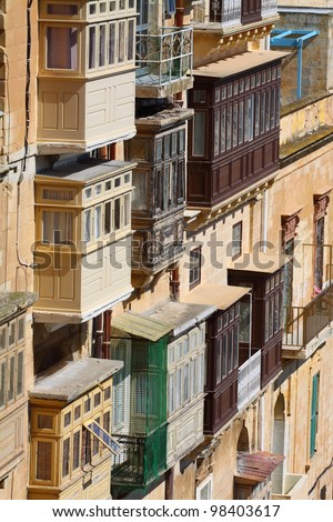 Traditional Maltese balcony, Valletta, Malta - stock photo