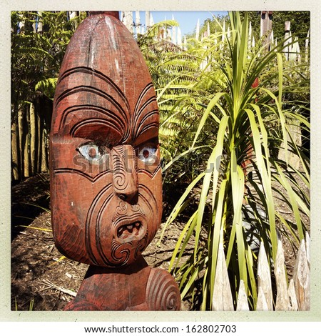 Traditional Maori carving. New Zealand - stock photo