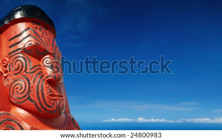 Traditional maori carving, Rotorua, New Zealand - stock photo