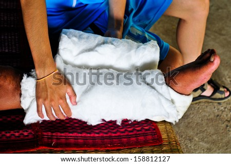 Traditional medical care. - stock photo