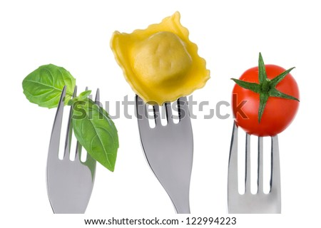 traditional mediterranean diet ingredients pasta herbs tomato - stock photo