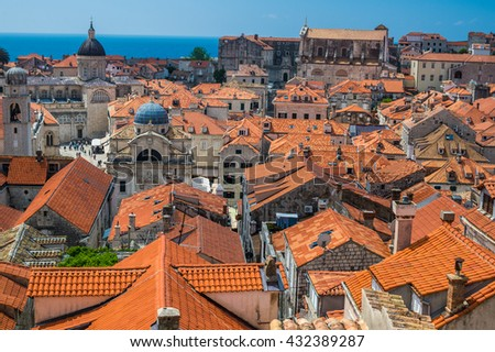 Traditional Mediterranean houses with red tiled roof - Dubrovnik, Croatia, Europe - stock photo